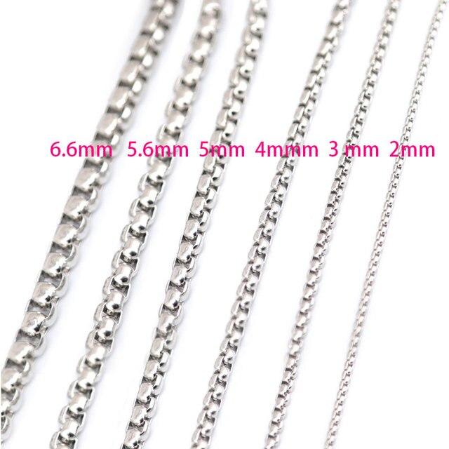 5 pièces 2mm 3mm 4mm 5mm 5.6mm 6.6mm en acier inoxydable boîte collier chaîne pour femmes hommes médaillon pendentif