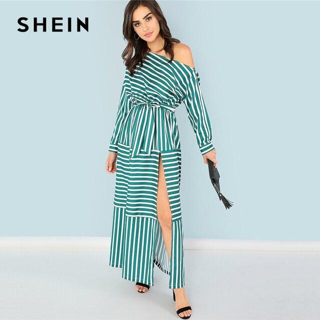 9159fb58e67 SHEIN Tribal Print Belted Wrap Dress Black V Neck Flounce Sleeve High Waist  Dress Women Summer