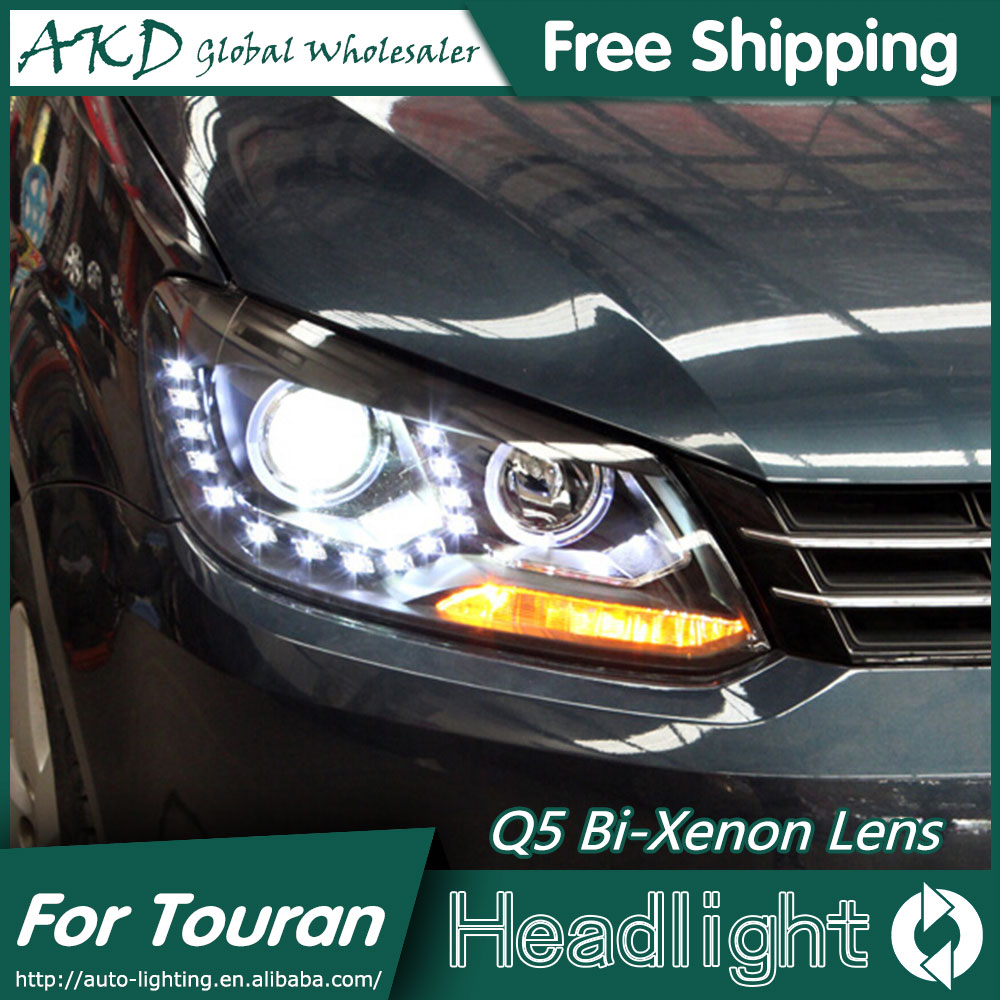 AKD Car Styling for VW Touran Headlights 2011-2015 New LED Headlight DRL Bi Xenon Lens High Low Beam Parking Fog Lamp