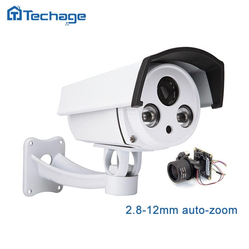 Techage 1080 p HD IP POE Caméra 2.8-12mm Motorisé Auto Zoom Lentille Extérieure Étanche P2P ONVIF CCTV caméra de Surveillance de sécurité