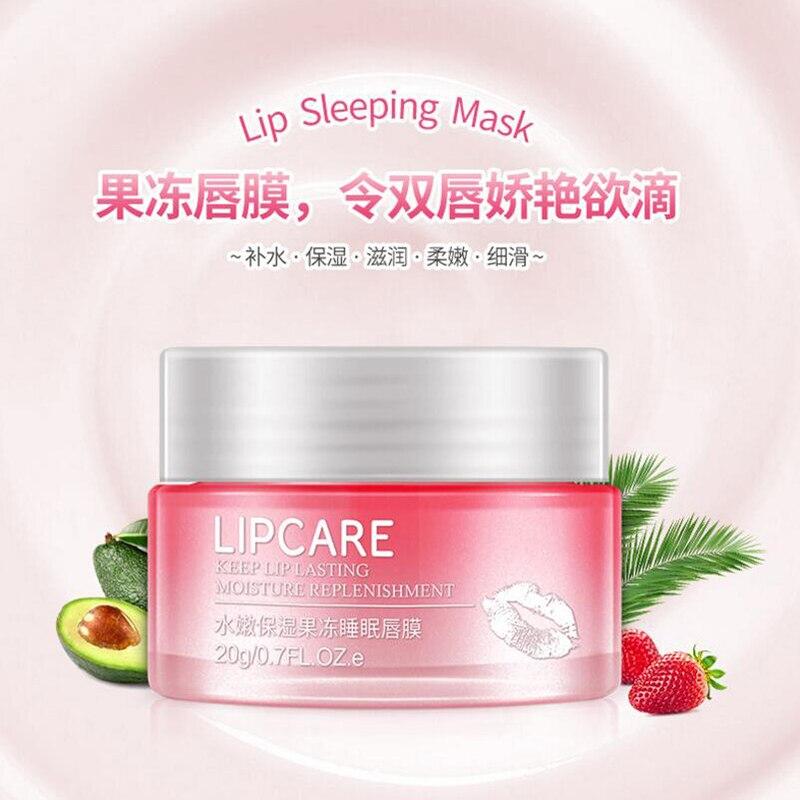 BIOAQUA Strawberry Lip Sleeping Mask Exfoliator Lips Balm Moisturizer Nourish Lip Plumper Enhancer Vitamin Skin Care Night Cream 3