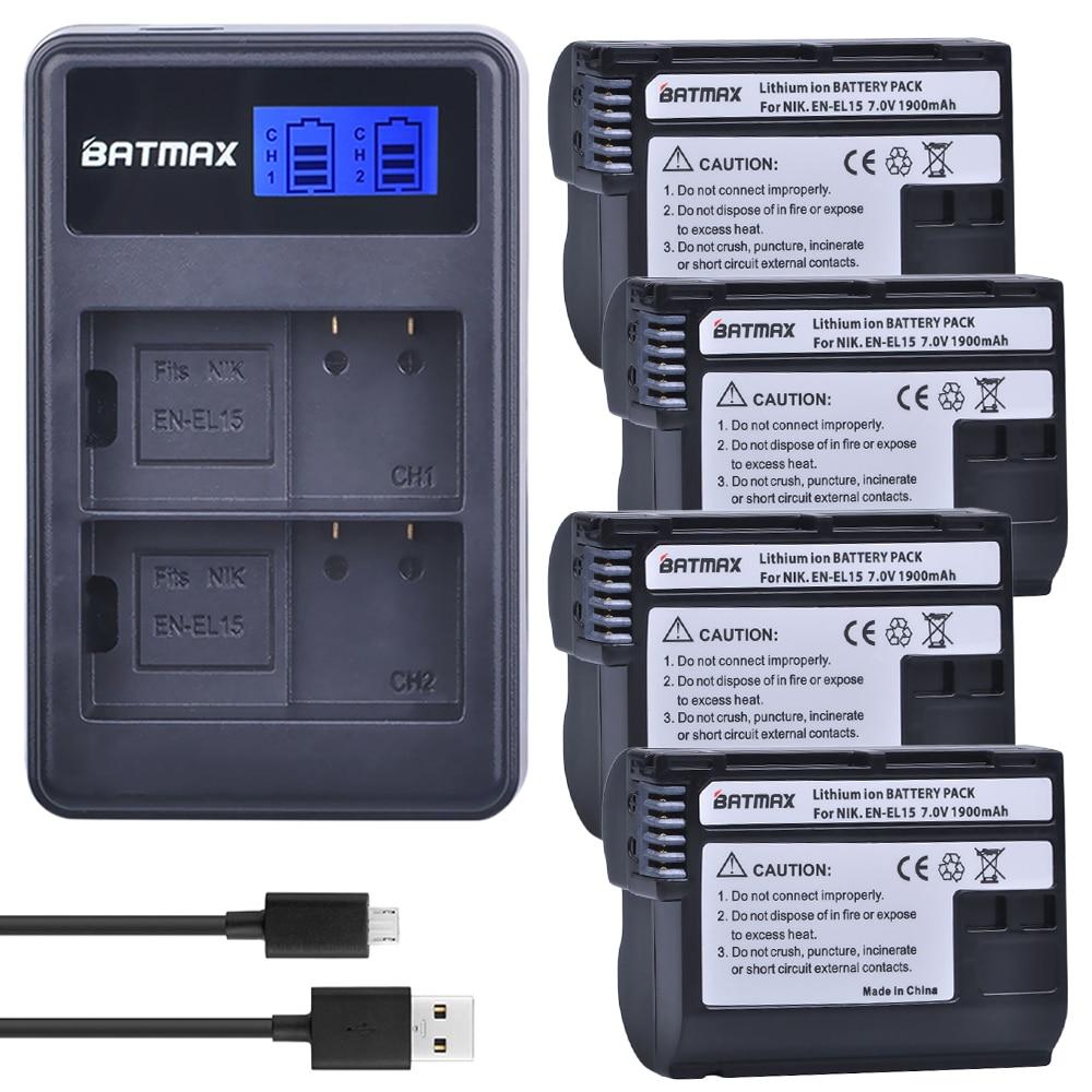4X Batteries Bateria EN EL15 ENEL15 + double chargeur LCD pour Nikon D500, D600, D610, D750, D7000, D7100, D7200, D800, D800E, D810, D810A v1