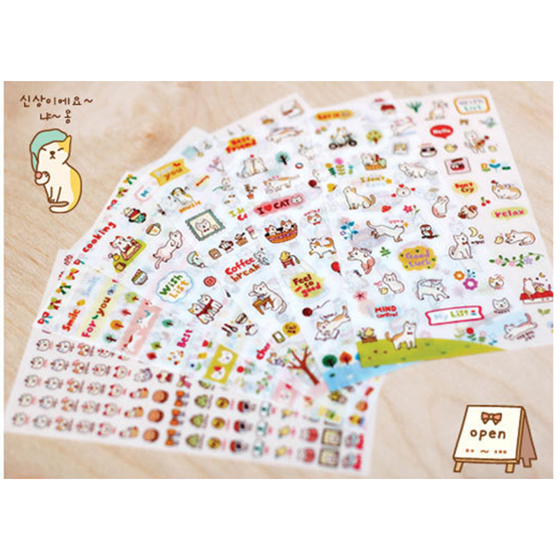 6 Pcs / Pack Korea Emoji stickers DIY fun anime Decorative stickers stickers My happy life Toys for girls Kids toys