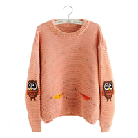 TANGNEST Autumn Winter Kintted Sweater Women 2017 New Fashion One Size Sleeve Owl Embroidery Lips Female