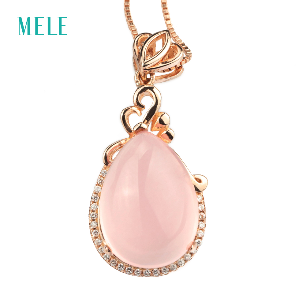 Natual pink crystal silver pendant, pears 13mm*18mm, light pink color, design and gift for Christmas