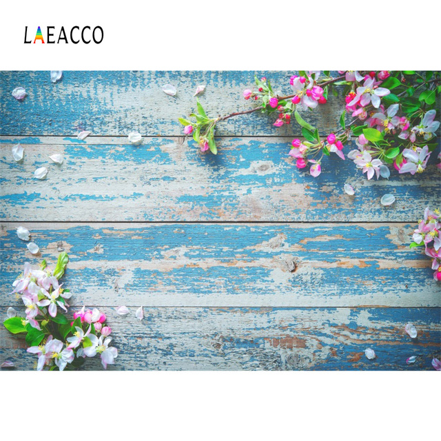 Laeacco Wood Board Flower Petal Birthday Photocall Pet Doll Food Cake Photography Background Photo Backdrop Digital Photo Studio