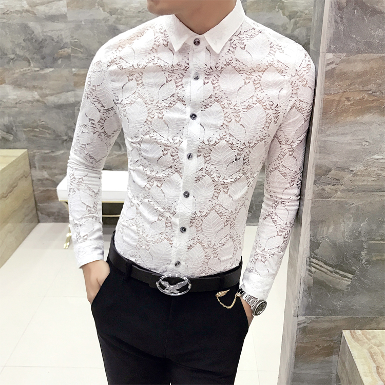 Sexy Lace Hollow Party Shirts Social Men Blouses 3XL High Quality Tuxedo Shirt 2019 New Spring Summer Slim Fit Mens Dress Shirts