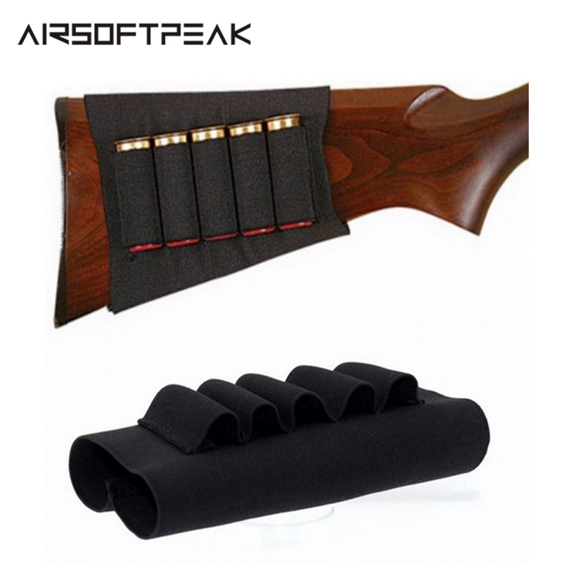 Airsoft Rifle Hunting Tactical Shotgun Pouches Butt Cartridges Stock Shell Holder Elastic Fabric Ammunition Carrier Pouch Bags