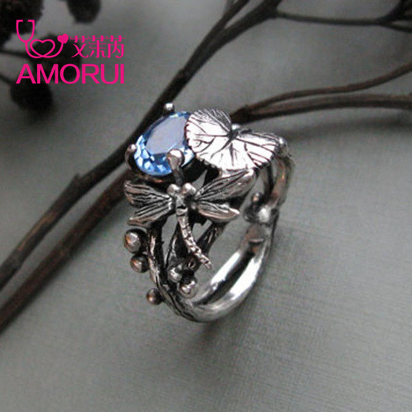 AMORUI New Fashion Silver Black Lotus Leaf Dragonfly Party Ring 6/7/8/9/10 Size Copper Rings for Women Anniversary Gifts Jewelry