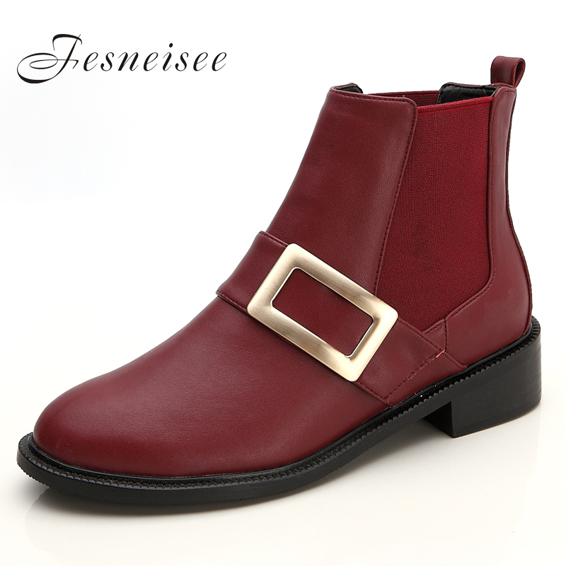 Women Genuine Leather Autumn And Winter Boots With High Heels Shoes Martin Boots Women Ankle Boots With Buckle Big Size43 M4.0