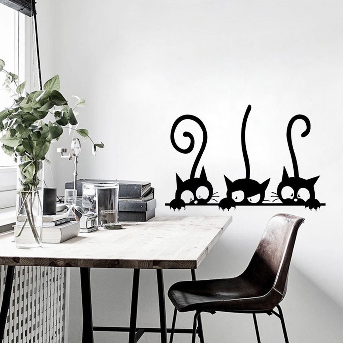 Three Funny Cats Animal Wall Sticker Household Room PVC Window Decals Mural Removable 3D Wall Stickers DIY Decoration Home Decor(China)