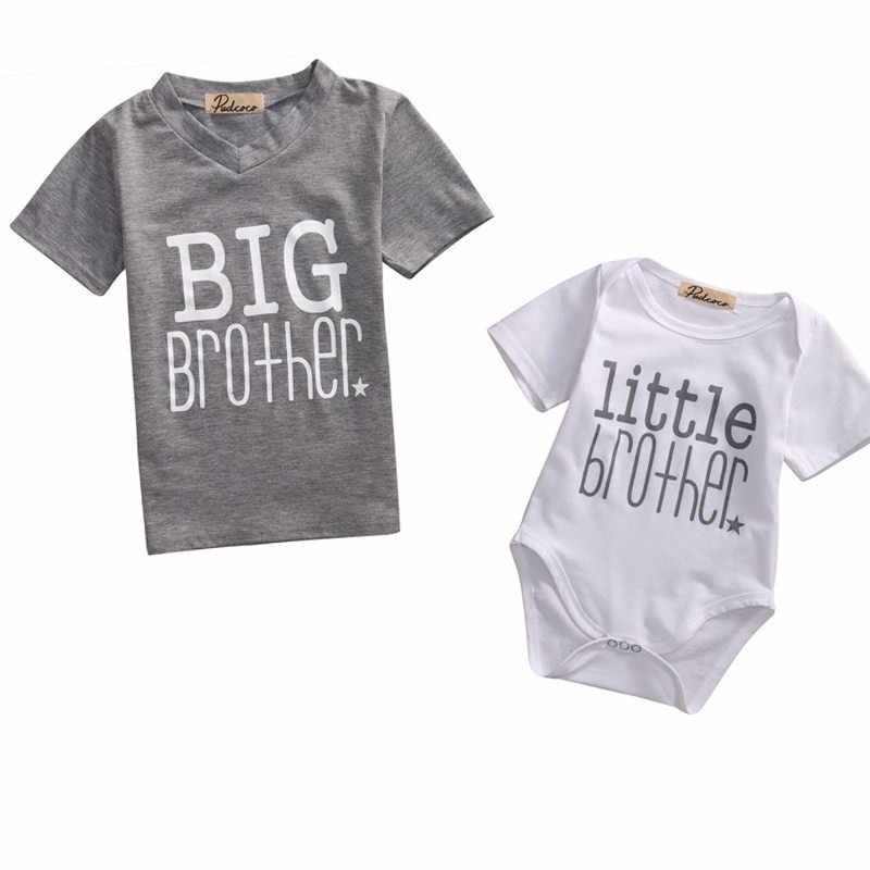 Infantil Baby Meninos Grande Irmão mais novo Equipamento de Harmonização Bebês Menino Roupas de Verão T-shirt de Manga Curta Roupas Bodysuit