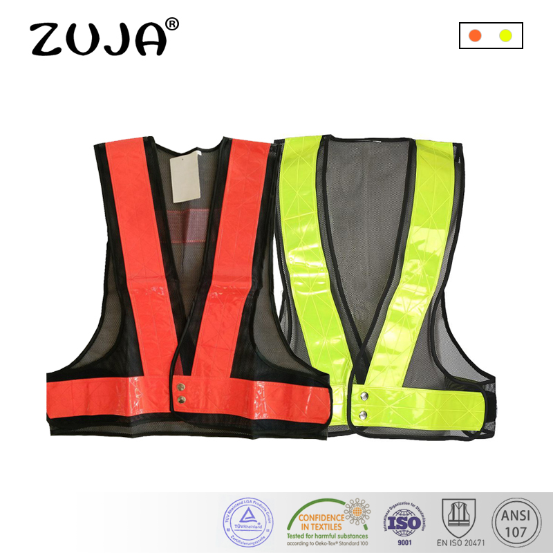 Safety Clothing Supply Black Mesh Vest High Visibility Pvc Reflective Tape Zipper Front Workplace Safety Supplies