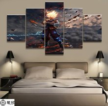 5 Panel Dragon Ball Son Goku Animation Canvas Printed Painting For Living Room Wall Art Home Decor HD Picture Artworks Poster