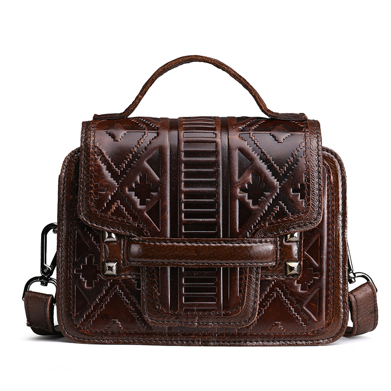 BRAND Brand New Fashion Women handbag Oil Waxed Should Message Bag Geniune Leather Embossed Floral Vintage