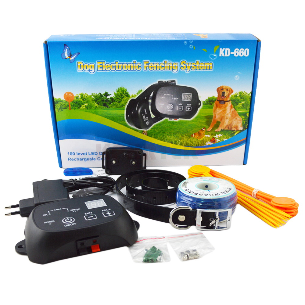 12set Convenient Auto Static Shock Beep Electric Dog Fence and Rechargeble Collar Security Pet System Stopping
