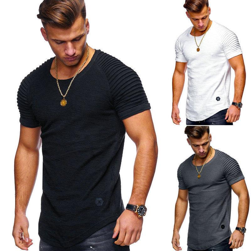 Hot Selling Summer Short Sleeve Men   T     Shirt   Cotton Blended Solid Mens   T  -  shirt   Casual Slim Tee   Shirt   Homme