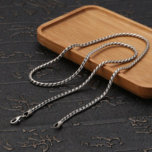 925 sterling silver jewellery vintage Chinese style fashion necklace for women and men 2mm wide personality minimalism Chain(China)