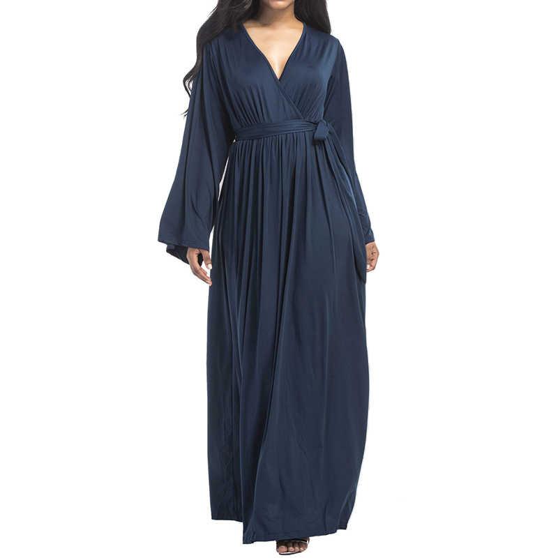 Women Loose Long Sleeve Maxi Dress Spring Autumn Casual Elegant Sexy V Neck  High Waist Long 2508ec00fe8b