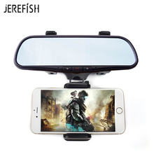 JEREFISH Universal Car Rearview Mirror Mount Holder Phone Stand Cradle Mechanical Clamp for iPhone Samsung Huawei Cell Phone