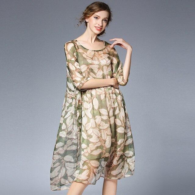 79fbfaad2d0 Plus Size Loose Printed Spring Summer Dress Women Oversize Sheer Floral  Chiffon Midi Dresses xl to 4xl