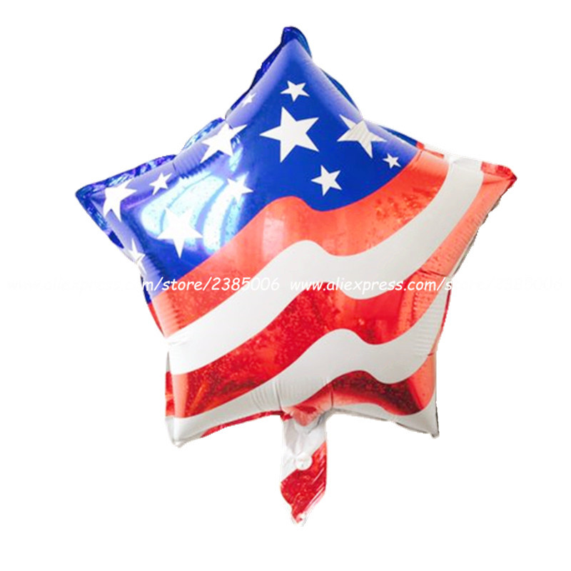 10pcs/lot 18 Inch American Flag Aluminum Balloon Ball Birthday Party Decorations Hotel Scene Decoration Children Toy Balloons Event & Party Home & Garden