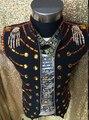 Nightclub DJ Singer Show performance Vest costumes Plus size Men stage show jacket vest Party wear dance costume