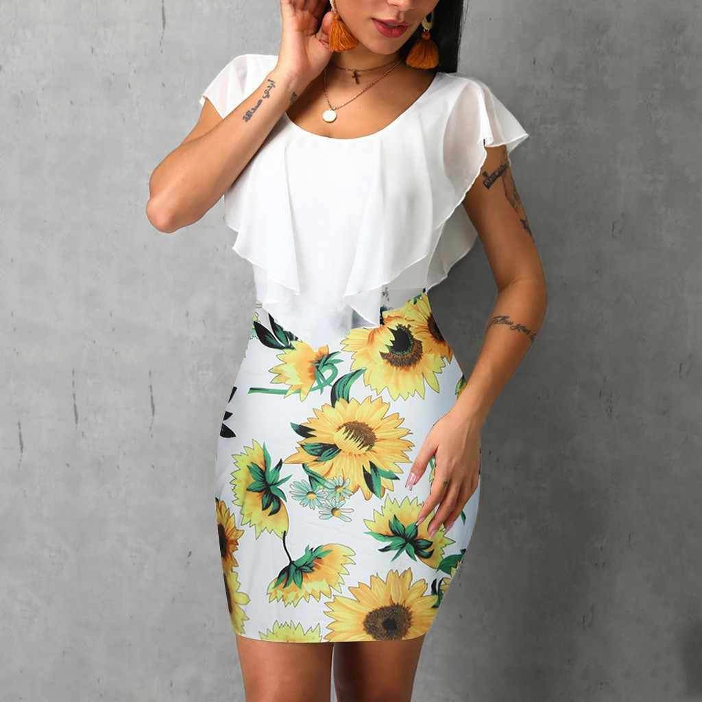 Sexy Womens Sunflower Summer Bodycon Dress Sleeveless Printed Holiday Party Short Mini Dresses Ruffle Summer Dress 2019 Vestido