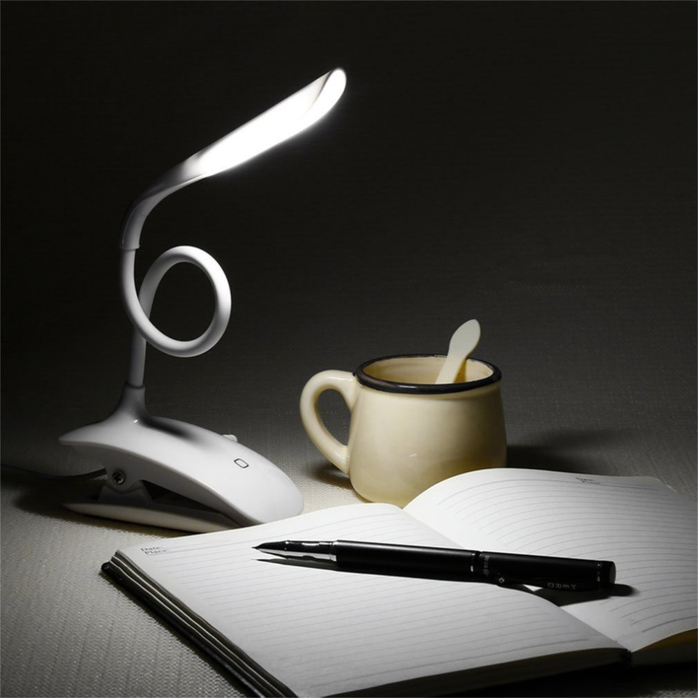 Rechargeable Flexable Led Desk Lamps with Clamp Clip USB Table Lamps Reading Lighting Energy Saving Touch Switch Lamp White