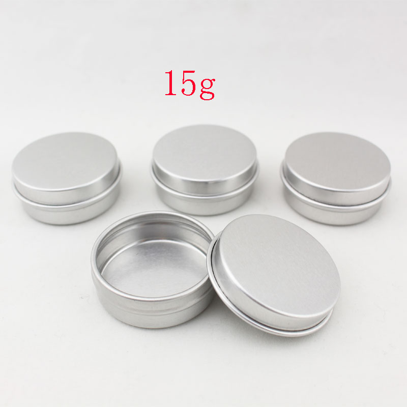 15g Aluminum Empty Cosmetic Container With Lids 15ml Small Round Lip Balm Tin Solid Perfume Packaging Jar Sample Bottle In Storage Bo Bins