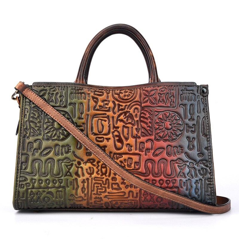 Women Messenger Shoulder Cross Body Bags Retro Real Cowhide Tote Hobos Handbag High Quality Genuine Leather