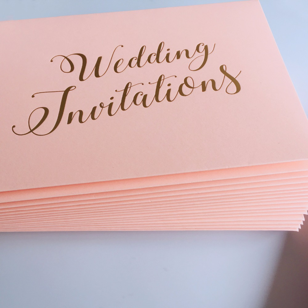 Us 65 0 Pink Wedding Invitations Envelope With Gold Foil Printing Luxury Envelopes Set Of 50pcs In Cards From Home Garden On