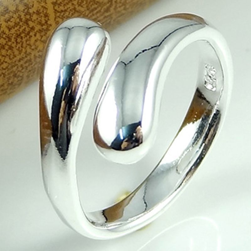 Fashion Water Drop Finger Rings Lovely Raindrop Ring Silver Plated Open Style Cuff Ring for Girls H*MPJ252#A2