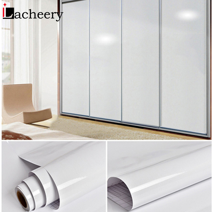 DIY Self Adhesive Decorative Glossy Wallpaper for Modern Furniture Bedroom Wardrobe Cabinet Solid Color Contact Paper Home Decor