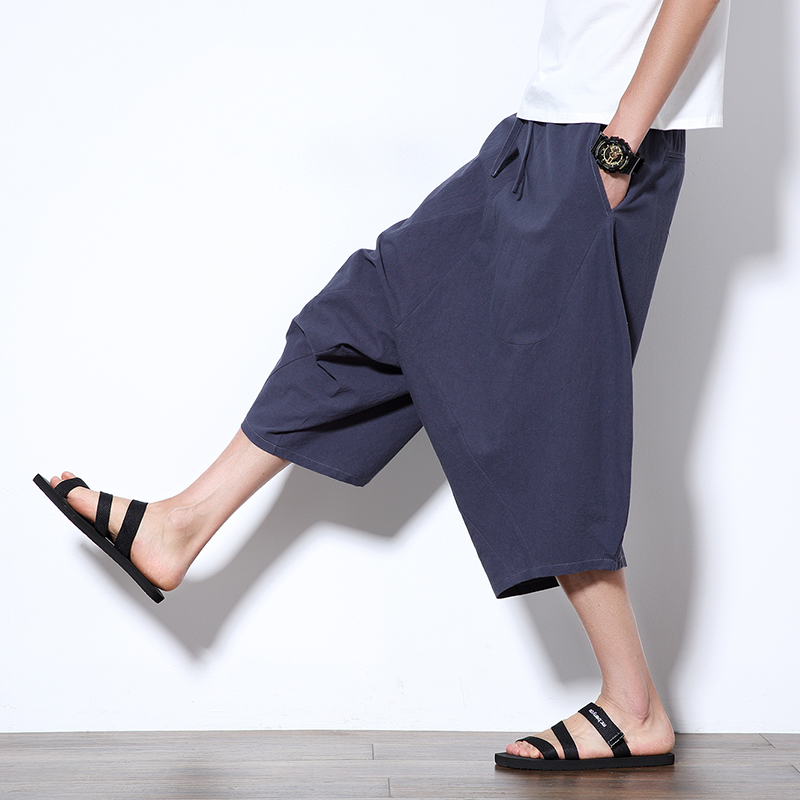 Harem Pants Cropped Trousers Loose Chinese-Style Baggy Wide-Crotch Men's Flaxen Bloomers