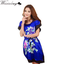 WEIXINBUY Ladies Sleepwear Dress Round Neck Printed Women Nightgowns Clothes Summer Autumn Latest(China)