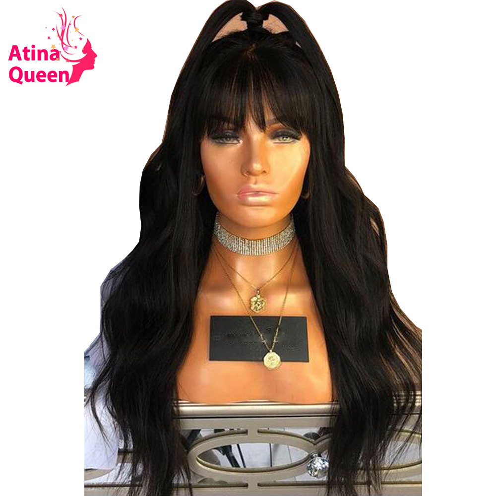 Atina Queen Hair Products Lace Front Human Hair Wigs with Bangs 150 Density Remy Natural Black