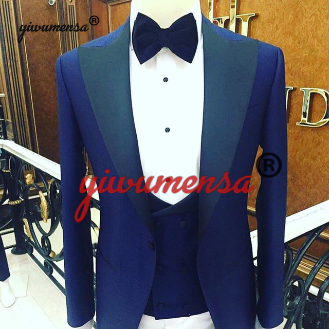 ac0841a74 New Brand Design Men Real Wedding Suits 2019 Groomsmen White Shawl Lapel  Groom Tuxedos Mens Tuxedo Wedding/Prom Suits 3 Pieces