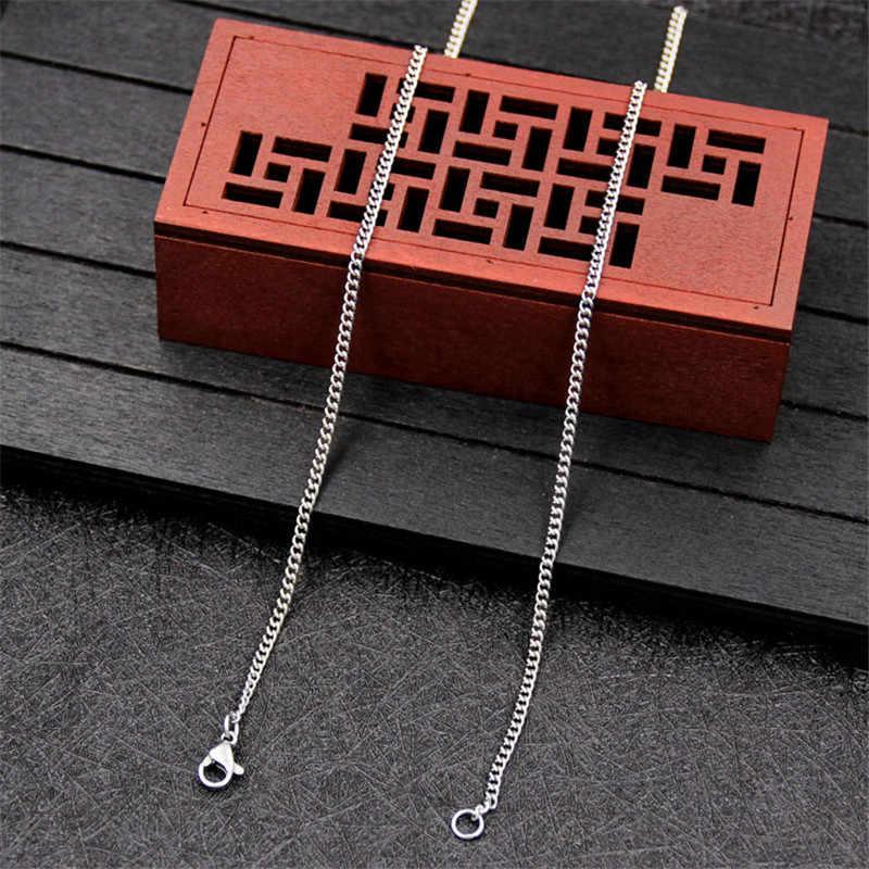 Cheap wholesale 1.9MM ze stali nierdzewnej boczny łańcuch naszyjnik 18-24 cali moda prezent biżuteria dla kobiety Fit kropla wisiorek shpping