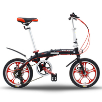 16 inch 6 Speed Super Light Folding Road Bike, Portable Mini City Bicycle, Bicicleta, Bisiklet Aluminum Alloy Frame