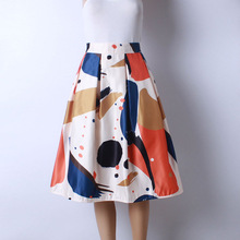 2016 Autumn New Women Fashion Satin Fabric Character Watercolor Print Middle Knee-Length Skirts Ladies Ball Gown Pettiskirt