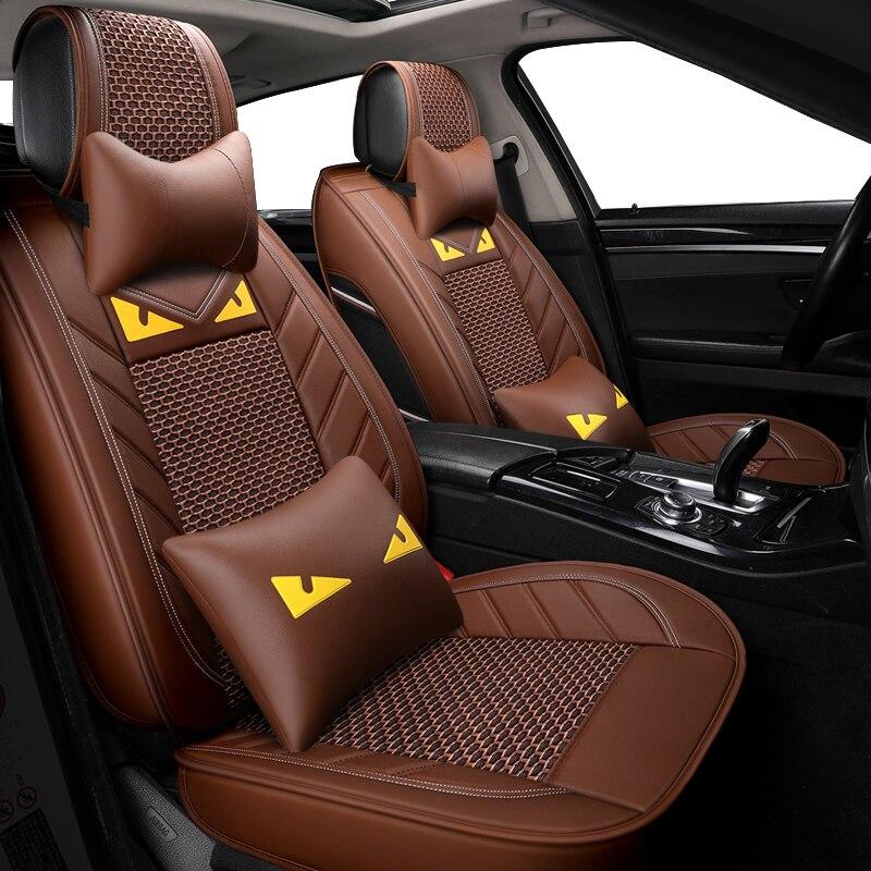 Housse de siège de voiture en cuir de soie de glace pour toyota solaris RAV4 skoda rapid bmw e46 Land Cruiser Prado 150 kia accessoire de voiture