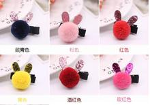 Pet headdress cute rabbit ear hair ball puppy clip cloth package safety card