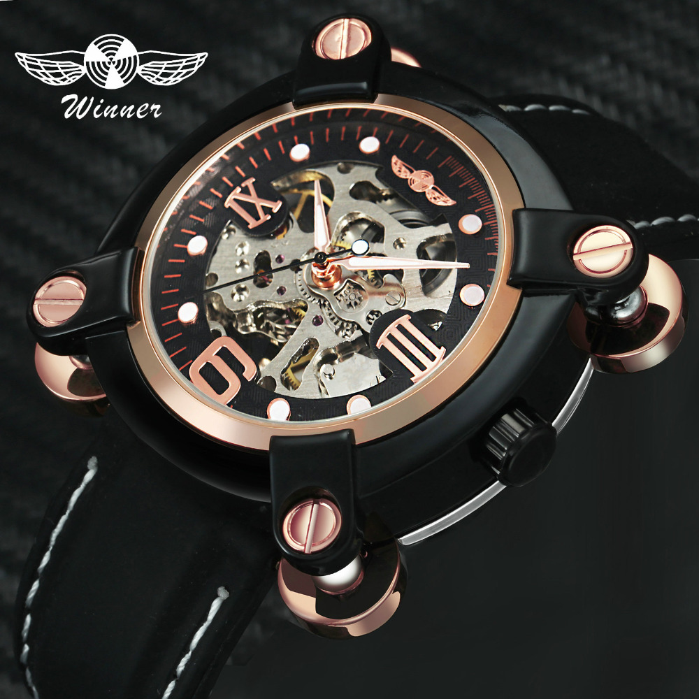 WINNER Steampunk Men Auto Mechanical Wristwatches Leather Strap 3D Rose Golden Roman Number Skeleton Dial Alien Creative Watch analog watch