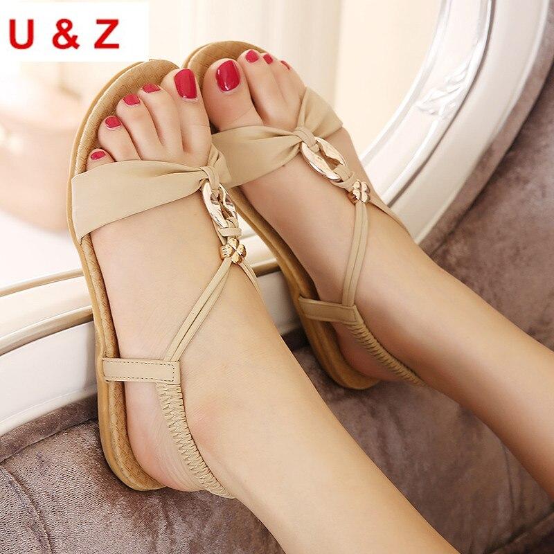 Plus big size 42 women Sweet Bohemian flat sandals beach shoes Black/Beige leather,Trendy summer flat sandals slip on Size US10 цена и фото