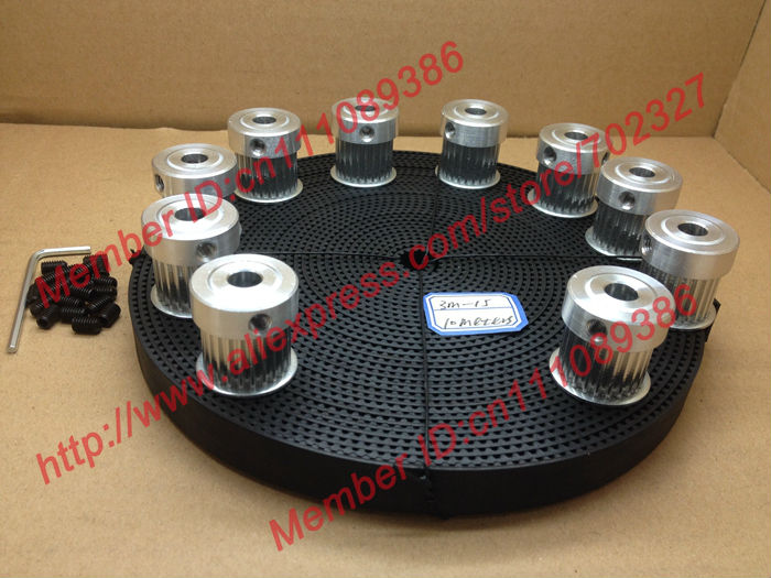 10pcs 24 teeth 3M Timing Pulley Bore 8mm 10Meters HTD 3M open ended timing belt width