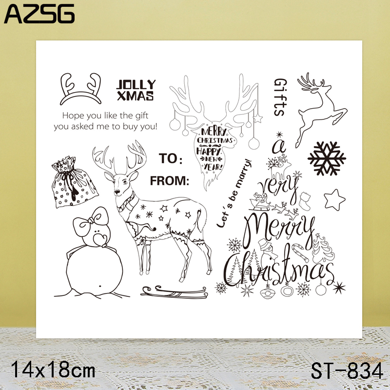 AZSG Elk Clear Stamps Seals For DIY Scrapbooking Card Making Album Decorative Silicone Stamp Crafts in Stamps from Home Garden
