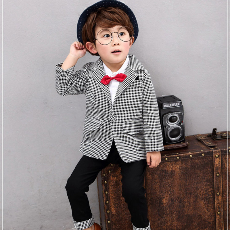 Set Autumn Toddler Clothing Wedding Suits For Boys Korean Kids Clothes Gentleman Long Sleeve Plaid Blazers Jackets Suit