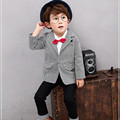 2Pcs Set Autumn Toddler Clothing Wedding Suits For Boys Korean Kids Clothes Gentleman Long Sleeve Plaid Blazers Jackets Suit