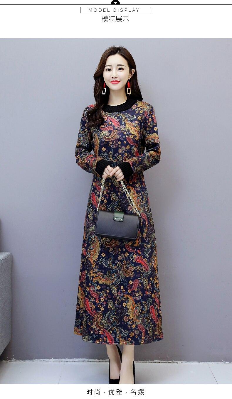 6912 Women Dress Elegant Long Sleeve Plus Size Print Vintage Velvet Warm Mom Maxi Dresses for Women Winter Dress Evening Party 2018 6